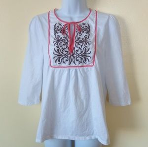 Boston Proper White Peasant Blouse Size M
